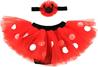 Baby Girls' Minnie Mouse Dress Up Headband and Tutu Set, red, black, 0-12M