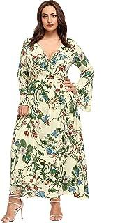 Plus Size Maxi Floor Length Wrap Empire Waist Boho Floral Flowy Dress