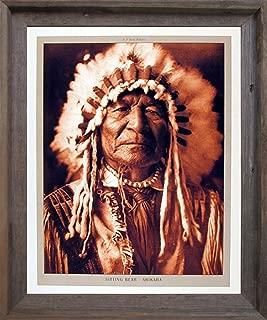 Impact Posters Gallery Framed Wall Decor Native American Sitting Bear Arikara Edward S. Curtis Barnwood Picture Art Print (19x23)