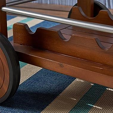 Christopher Knight Home 302538 Tillary Tiller Outdoor Acacia Wood Bar Cart Aluminum Accents, Dark Oak/Shiny Powder Coating