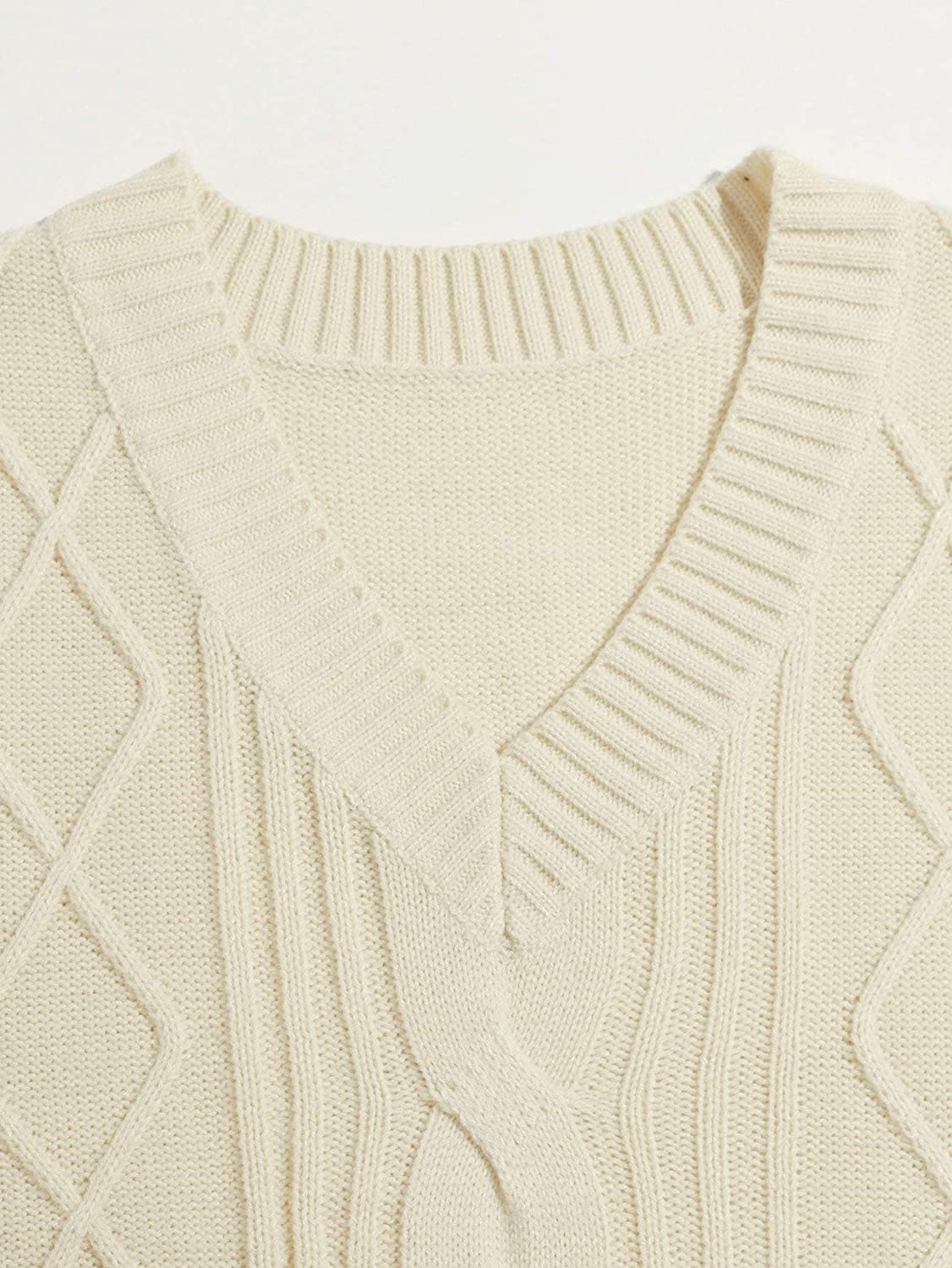 MakeMeChic Women's Preppy V Neck High Low Cable Knit Sweater Vest Sleeveless Top