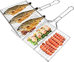 HOMENOTE 2 PCs BBQ Grill Basket, Premium Stainless Steel Grilling Baskets - Different Mesh Shapes for Campfire Grill Fish Steak Hamburger Vegetables