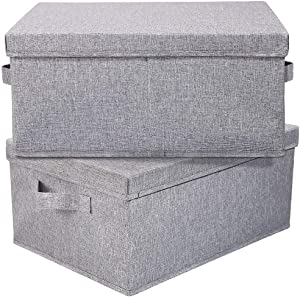 """HOONEX Linen Foldable Storage Bins with lid, 2 Pack, Storage Boxes with Carrying Handles and Study Heavy Cardboard, 16.5"""" L x 11.8"""" W x 7.5"""" H for Toy, Shoes, Books, Clothes, Nursery, Grey"""