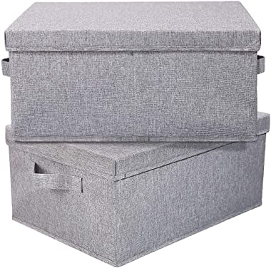 """HOONEX Linen Foldable Storage Bins with lid, 2 Pack, Storage Boxes with Carrying Handles and Study Heavy Cardboard, 16.5"""" L x"""