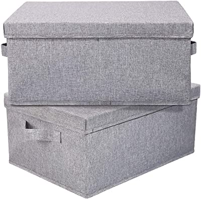 """HOONEX Linen Foldable Storage Bins with lid, 2 Pack, Storage Boxes with Carrying Handles and Study Heavy Cardboard, 16.5"""" L x 11.8"""" W x 7.5"""" H for Toy, Shoes, Books, Clothes, Nursery, Light Grey"""