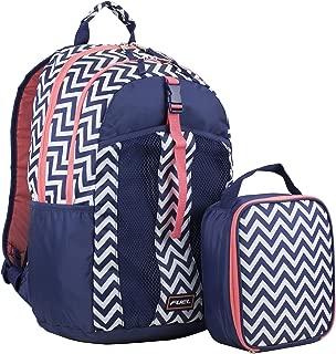 Fuel Backpack & Lunch Bag Bundle, Navy Blue/Coral/Chevron Print