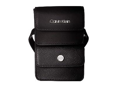 Calvin Klein Tonya Calf Leather Belt Bag (Black/Silver) Bags