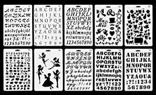 Vancool Plastic Bullet plantilla de plantilla de revista Set de 10 con letras del alfabeto número, perfecto para planificador/cuaderno/diario/libro de recuerdos/Graffiti/tarjeta, dibujo de b