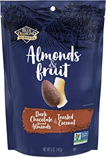 Blue Diamond Almonds & Fruit Bag, Dark Chocolate Flavored Almonds & Toasted Coconut, 5 oz