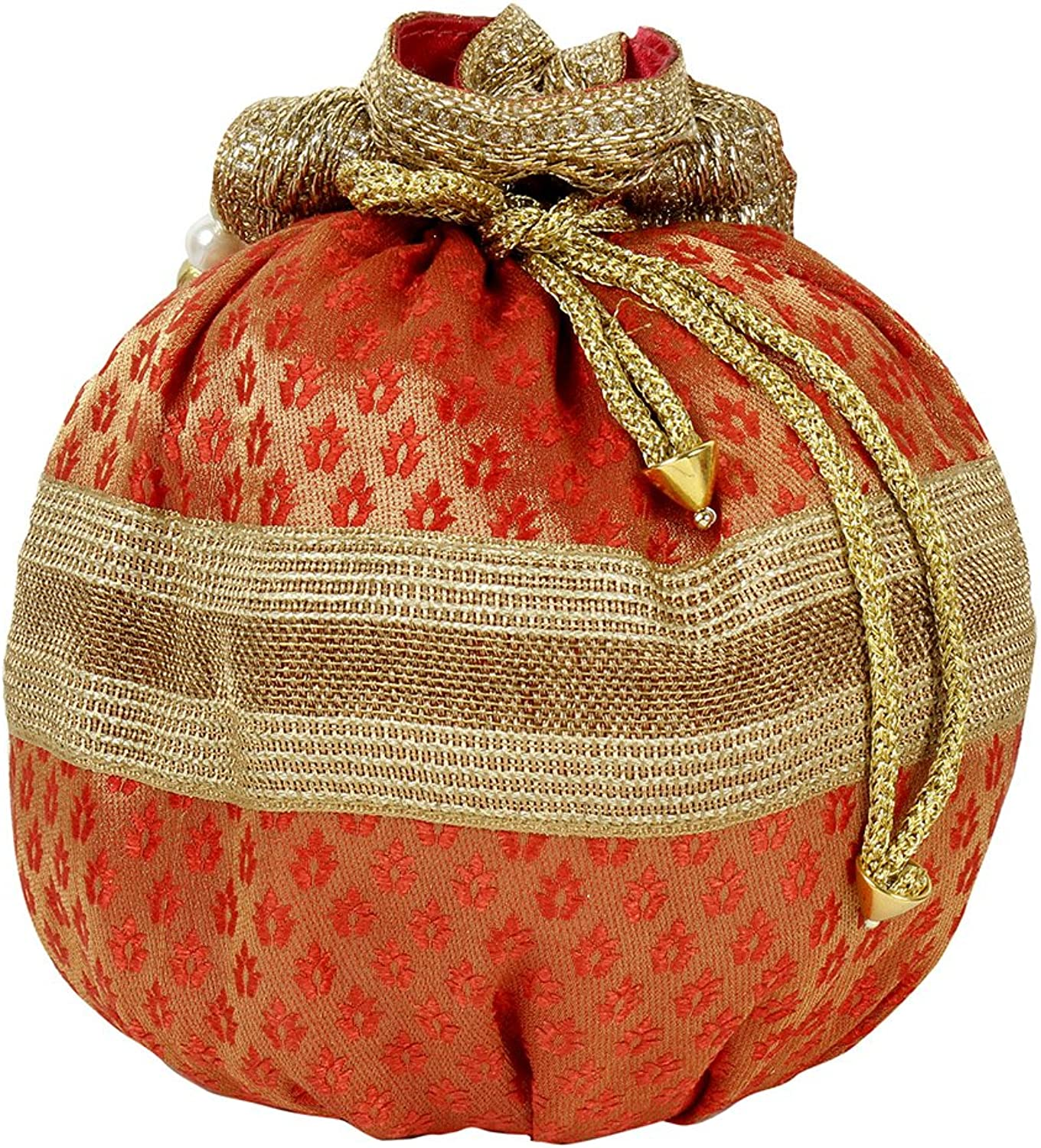Purse Collection Potli Bag Wedding Purse Pouch Indian Party Hand Traditional Ethnic Embroidered Red color For Women