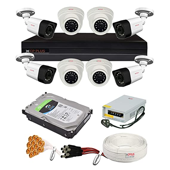 CP Plus 2.4MP, H.265+, 4TB Storage, 8 Camera Combo Kit with (8Ch DVR, 4 Dome 4 Bullet Cameras, 4TB HDD, Power Supply, 90Mtr Cable, Audio Mic and Connectors) 2.4 MegaPixel CCTV Security Camera Set