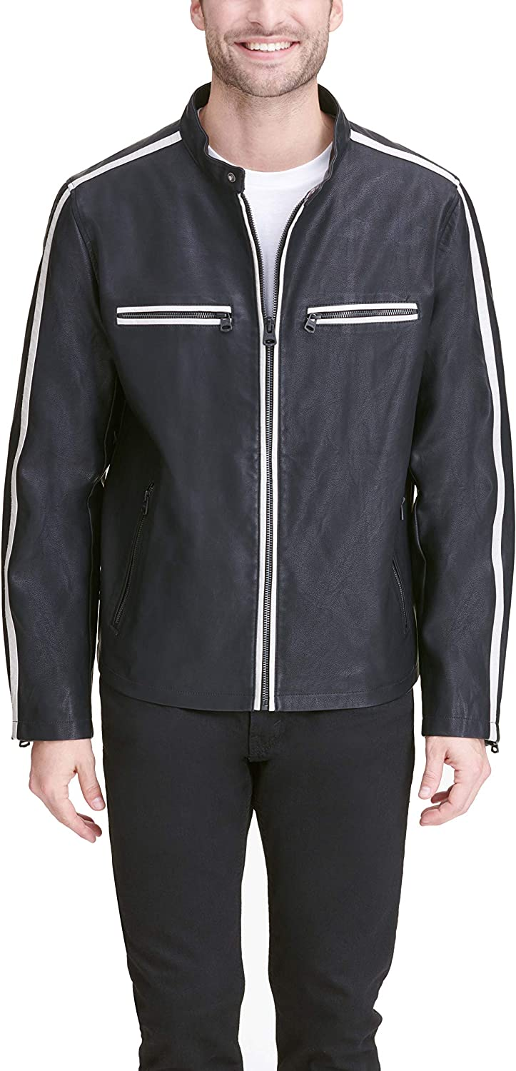 Levi's Men's Faux Leather テレビで話題 Moto Stripes 特価キャンペーン Contrast Racer with
