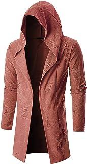 GIVON Mens Long Sleeve Draped Lightweight Open Front Longline Hooded Cardigan
