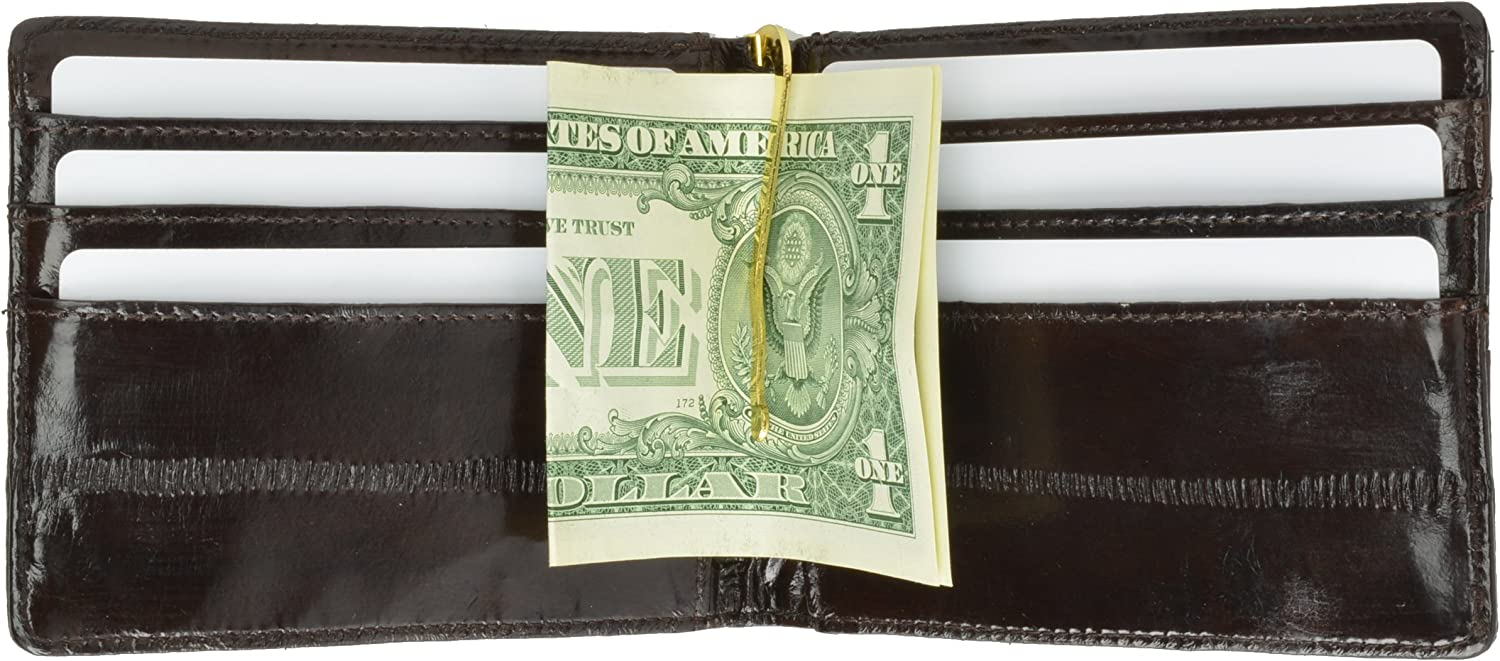 EEL Skin Money Clip and Card Holder Wallet # E717 by Marshal Wallet - Black