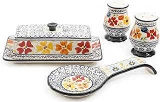 Gibson Elite 92997.04R Luxembourg Handpainted Butter Dish, Spoonrest, Salt And Pepper Accessories Set, Blue and Cream with Floral Designs