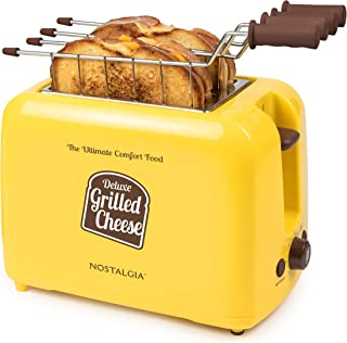 Nostalgia GCT2 Deluxe Grilled Cheese Sandwich Toaster with Extra Wide Slots, Yellow