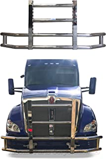 Longroadaccess Kenworth T680 Front Bumper Guard. Grille Guard, Deer Guard, Brush Guards - Square - Fits Kenworth T680-22 inch LED bar 120W led Light bar Included