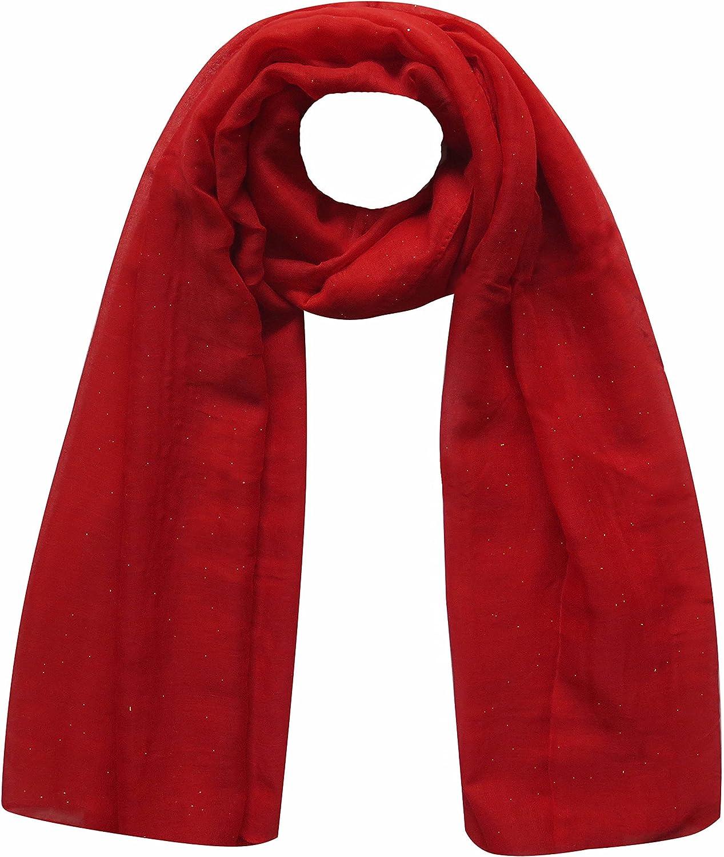 Plain Maxi Glitter Sparkle Shimmer Scarf Hijab Head Wrap Shawl Large Size