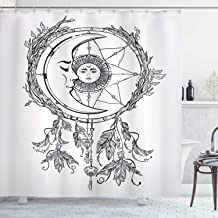 Ambesonne Mystic Shower Curtain, Dreamcatcher Feathers with Sun and Moon Inside Cosmos Image, Cloth Fabric Bathroom Decor Set with Hooks, 75 Long, Black White