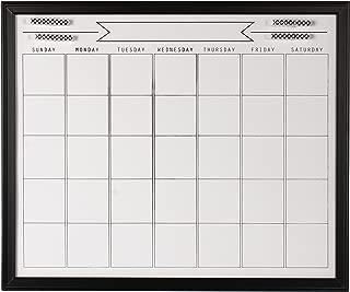 DesignOvation Walcott Framed Dry Erase Monthly Calendar, Black
