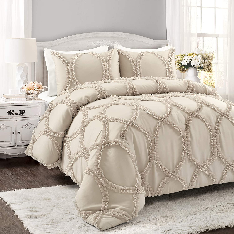 Lush Decor Avon 3 Piece Comforter Set, Full/Queen, Neutral