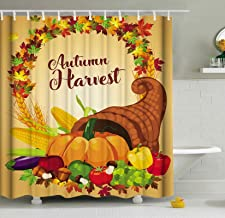 ShineSnow Autumn Harvest Thanksgiving Festival Pumpkin Fruit Vegetable Shower Curtain Set 60 x 72 Inches, Home Decor Bathroom Accessories Waterproof Polyester Fabric Curtains