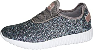 Womens Lace Up Glitter Shoes Fashion Metallic Sequins Light Weight Sneaker