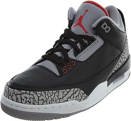 Nike Chaussures Air Jordan 3 Retro Black Cement en Cuir Gris et Noir 854262-001