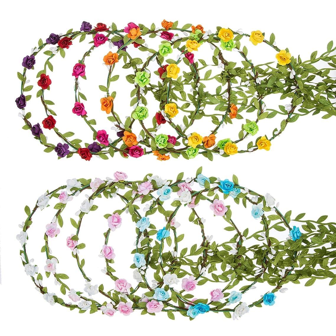 eBoot 12 Pieces Flower Crown Wreath Floral Garland Headbands for Wedding Beach Festival (Multicolor)