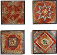 Madison Park Moroccan Tile Abstract Canvas Wall Art Bohemian Painting Home Décor, Abstract Stretched 4 Piece Set Canvas Pa...