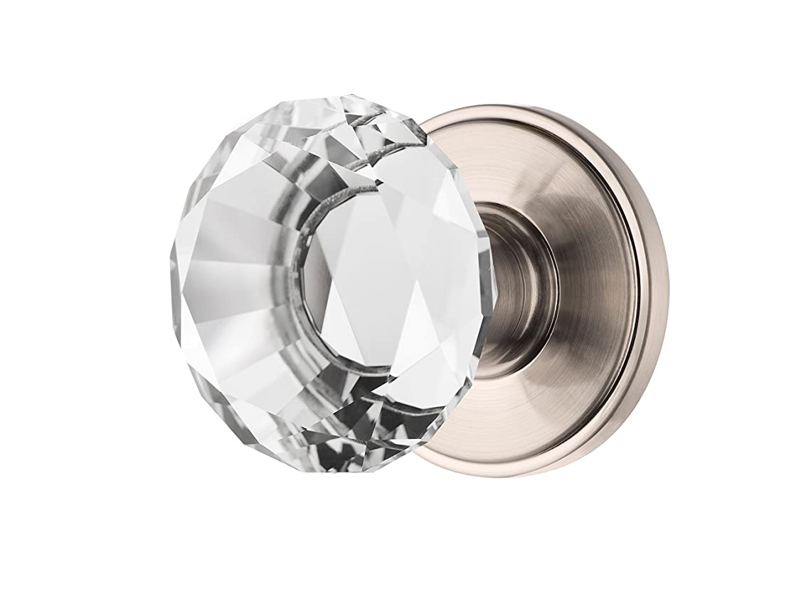 Decor Living, AMG and Enchante Accessories, Diamond Crystal Door Knobs with Lock, Privacy Function for Bed and Bath, Venus Collection, Satin Nickel