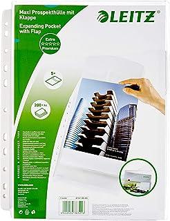 Leitz Premium, Pochettes Plastique Perforées A4 à Soufflet, Grande Capacité 200 Feuilles, PVC 170 Microns, Rabat sur le Ha...