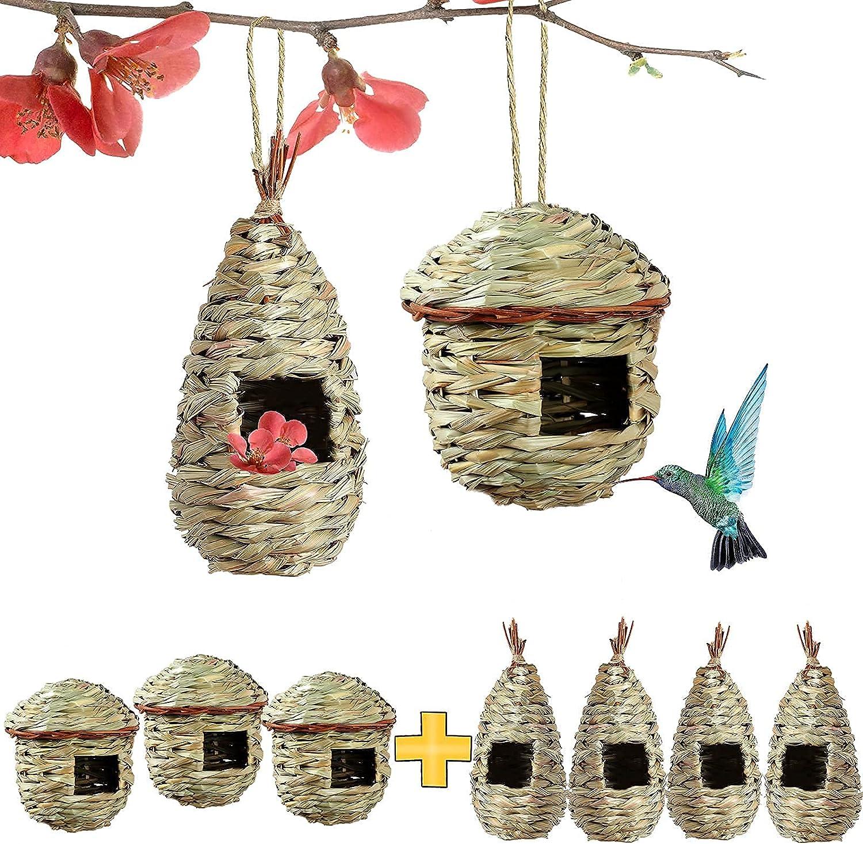 PiiSheou Hummingbird House Grass Hand Birdhouses Outd for Max 79% SALENEW very popular! OFF Woven