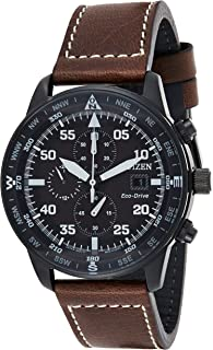 CITIZEN Mens Solar Powered Watch, Chronograph Display and Leather Strap - CA0695-17E