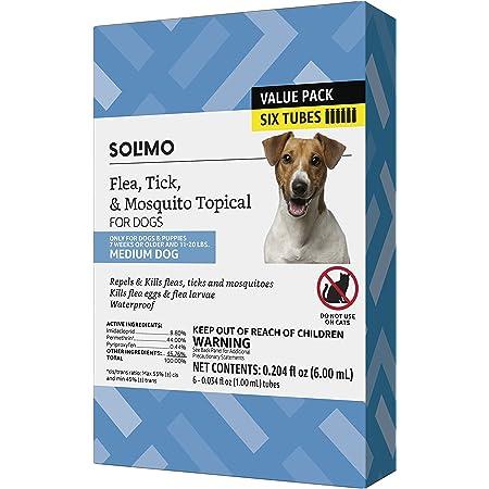 Marca Amazon – Solimo tratamiento tópico de pulgas, garrapatas y mosquitos para perros (pequeño, mediano, grande, extragrande), 6 unidades