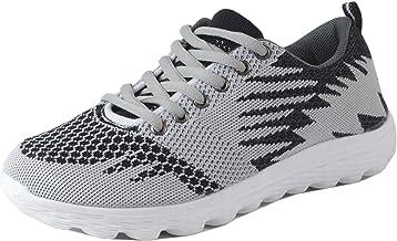 Jnasso - Chaussures de course pour femme - Tissu mesh coloré - Aspect tricoté - Chaussures de sport - Runner, fitness, ent...