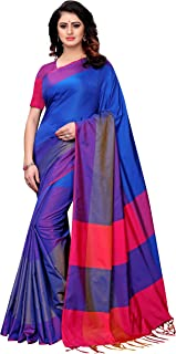 GoSriKi Women's Art Silk Blend Plain Saree Border Tassels With Blouse Piece (Free Size)