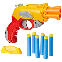 Amazon Brand – Jam & Honey Fire Blaster Plastic Toy Gun, with Soft Foam Bullets and Target board, yellow
