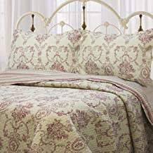 Cozy Line Home Fashions French Medallion Beige Burgundy Red Rose Flower Pattern Printed 100% Cotton Bedding Quilt Set Reversible Coverlet Bedspread for Women Men (Burgundy Red, King - 3 Piece)