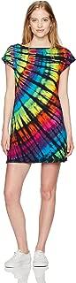 Women's Rainbow Black Streak Tie Dye Boat Neck Sundress