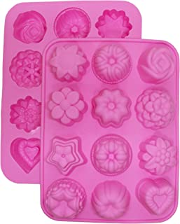 Cherion 2-Piece Silicone Mini Soap Mold,Pudding Mold,Flower and Heart Shaped Cake Mold (12 Cavity Flowers2)