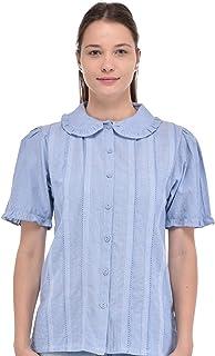 Cotton Lane Women'S Peter Pan Collar Chambray Korte Mouw Blouse