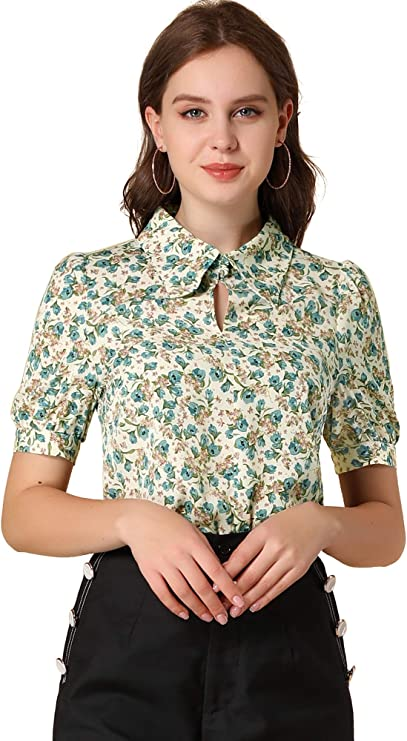 1950s Style Clothing & Fashion Allegra K Womens Elegant Shirt Turndown Collar Puff Sleeve Vintage Floral Blouse  AT vintagedancer.com