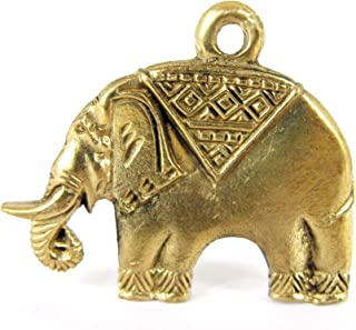Land of Simple Treasures Thai Elephant Key Chain Pendant - Trunk Up Magic Amulet - Brass Mini Lucky Pocket Charm Figurine...