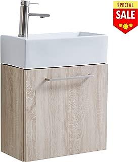 "VESLA HOME 24"" Beige Wall-Mounted Bathroom Vanity, Bathroom Combo Cabinet with Ceramic Vessel Sink and Bathroom Faucet"