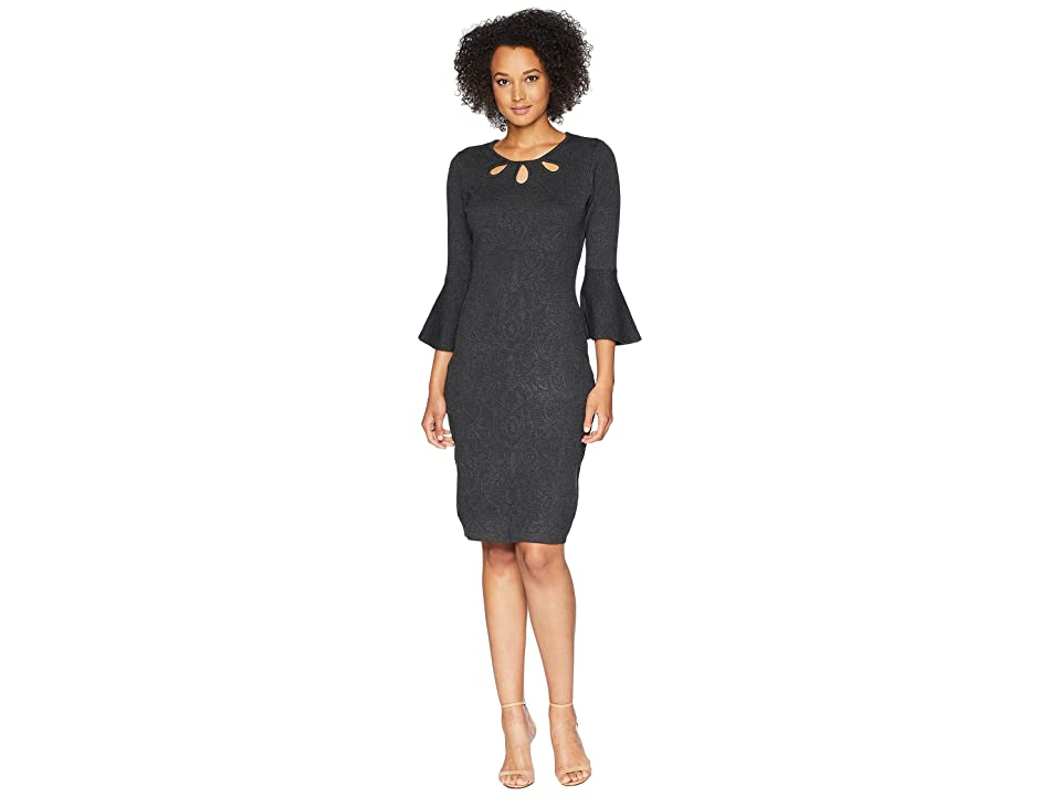 Taylor Keyhole Sweater Dress with Bell Sleeve (Charcoal) Women