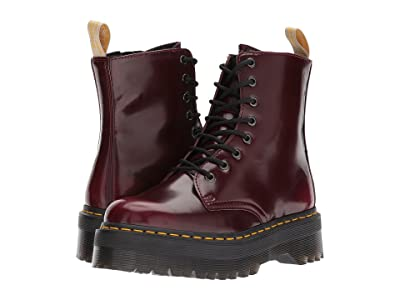 Dr. Martens Vegan Jadon II 8-Eye Boot (Cherry Red Cambridge Brush) Women