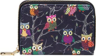 KUKOO Credit Card Holder Case for Women RFID Small Printed Zip Around Card Wallet