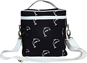 """EcoRight Lunch Bag Reusable Cotton Canvas EcoFriendly Insulated Cooler Washable Zipper for Men, Women, Adults Printed""""Dolphins"""" (Blue) - (0803S04)"""