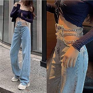 Jeans Mujer Streetwear Lado Cruzado Cadena Hueco Pierna Ancha Mujeres Jeans Pantalones De Cintura Alta Sexy Elegante Damas...